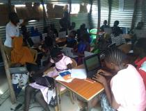 Students learning digital literacy