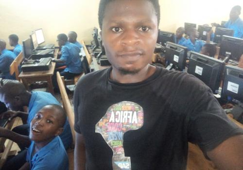 A picture of me during a project I launched on the use of basic ICT tools in environmental and climate change education in schools.