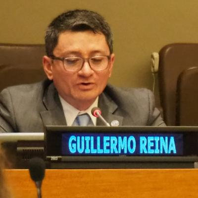 Mr. Reina at the United Nations Headquarters in New York.